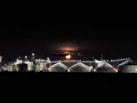 The Supermoon glows above Mountaire Farms' Millsboro-area