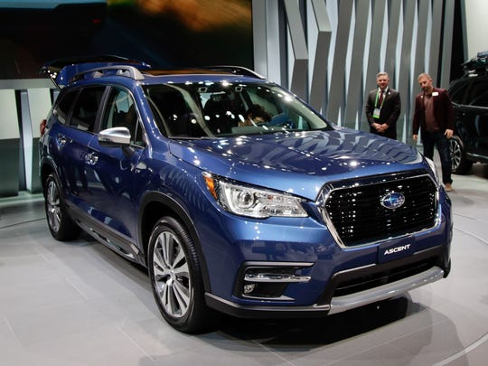 The 2019 Subaru Ascent is displayed at the Los Angeles