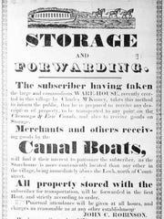 A canal broadside advertising for packet boat rides and storage, around 1850.