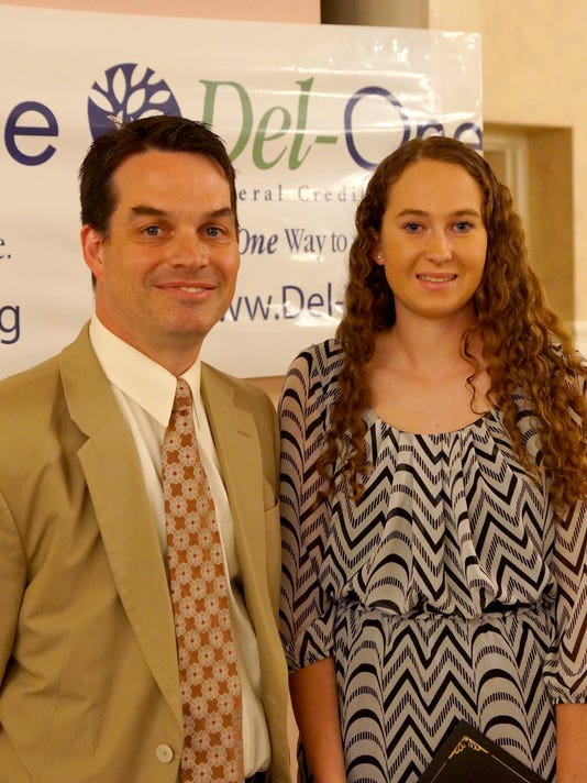 636021120158775953-DelOne-2016ScholarshipWinner---Laurie-Wroten-and-CEO-Dion.jpg