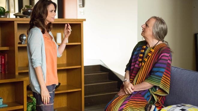 "Amy Landecker, left, and Jeffrey Tambor appear in a scene from ""Transparent"" on Amazon Digital."