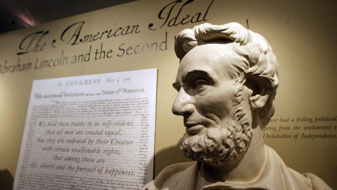 A bust of Abraham Lincoln   at the Robert Todd Lincoln mansion Hildene in Manchester, VT.