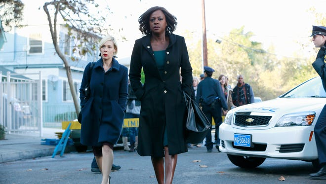 "Liza Weil, left, and Viola Davis in a scene from the episode ""Hello Raskolnikov"" from the television program  ""How to Get Away with Murder."""