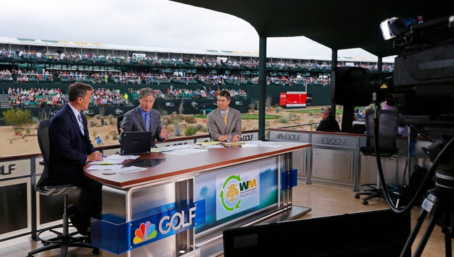 Thursday, Jan. 29, 2015; Scottsdale; Steve Sands, Brandel Chamblee and Arron Oberholser of the Golf Channel, work from their set on the 16th hole during the Waste Management Phoenix Open at TPC Scottsdale.
