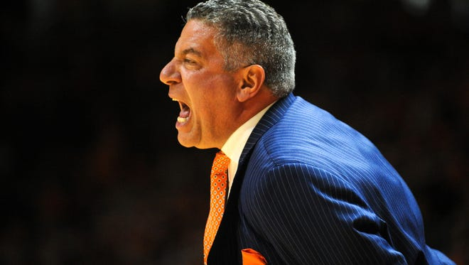 Auburn Tigers head coach Bruce Pearl during the game against the Tennessee Volunteers at Thompson-Boling Arena.