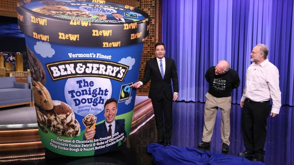Ben & Jerry's launches their newest flavor, The Tonight Dough Starring Jimmy Fallon on last night's episode of The Tonight Show.