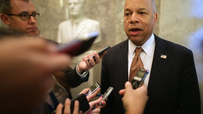 "U.S. Homeland Security Secretary Jeh Johnson says, ""I'm not telling people to not go to the mall."""