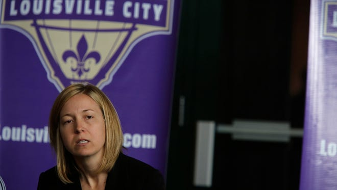 Amanda Duffy, General Manager for the Louisville City Football Club spoke with the media today about the club's inaugural season.  March 2, 2015.