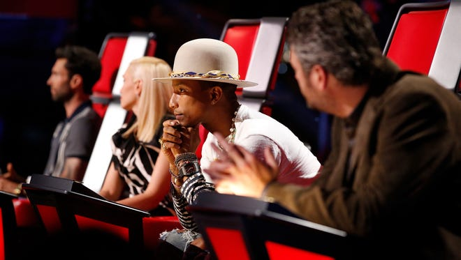 "Pharrell and his ""Voice"" dream team: Adam Levine, Gwen Stefani and Blake Shelton."