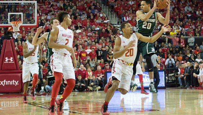 Michigan State and Travis Trice, right, had a brutal outing on Jan. 17 against Melo Trimble (2) and Maryland. The Spartans and Terrapins meet today in the Big Ten tournament semifinals.