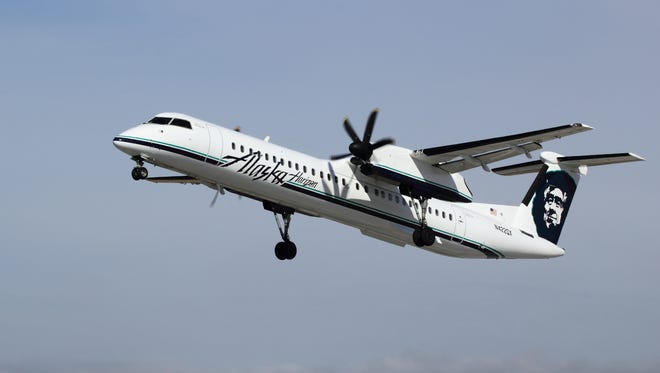 A file photo of a Bombardier Q400 aircraft operated by Alaska Airlines affiliate Horizon Air.