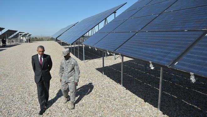 President Obama tours a solar array at Hill Air Force Base in Utah.