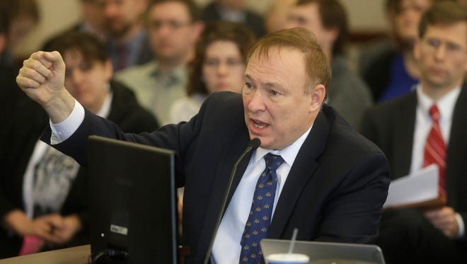 Sen. Jim Dabakis, D-Salt Lake City, speaks during a committee hearing at the Utah State Capitol Thursday, March 5, 2015, in Salt Lake City.  A landmark Utah proposal protecting gay and transgender individuals passed its test at the state Legislature Thursday when lawmakers on a Republican-controlled Senate committee offered their unanimous and at times emotional support of the measure.
