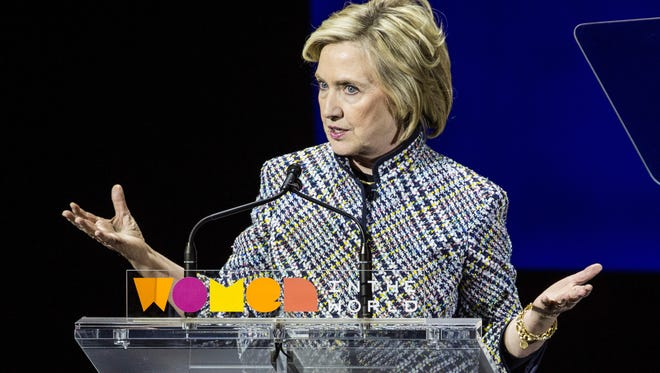 Hillary Clinton addresses the Women in the World Conference on April 23 in New York City.