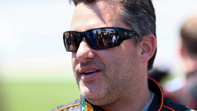 NASCAR Sprint Cup Series driver Tony Stewart (14) before the Geico 500 at Talladega Superspeedway.