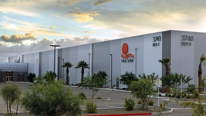 The former First Solar Inc. facility in Mesa. News came in February that Apple would establish a command center for its global data networks in the building soon after a former tenant, GT Advanced Technologies, declared bankruptcy.