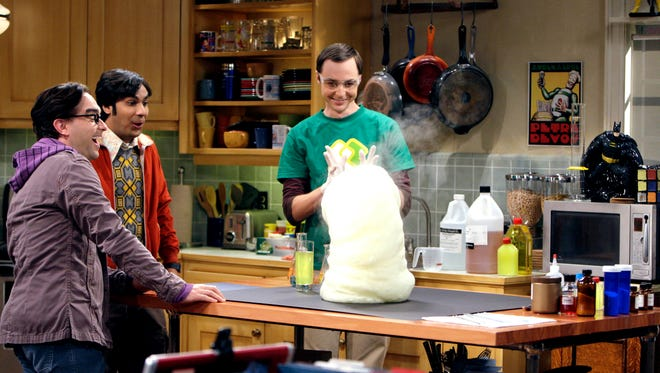 Johnny Galecki, left, Kunal Nayyar and Jim Parsons play scientists on CBS' 'The Big Bang Theory,' which will again begin its new season on Mondays.