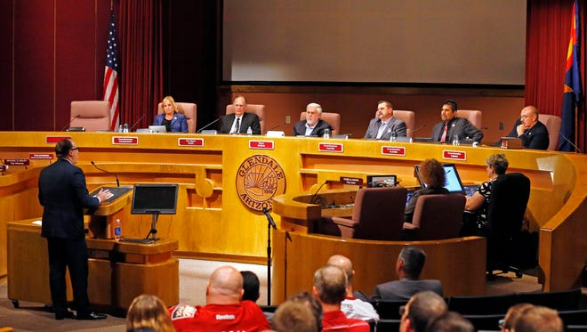 Arizona Coyotes President Anthony LeBlanc addressed the Glendale City Council at a special council meeting June 10, 2015.