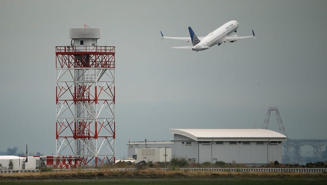 A United Airlines plane takes off from San Francisco International Airport on June 10, 2015.