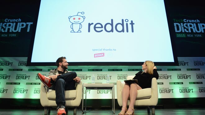 Co-Founder and Executive Chair of Reddit Alexis Ohanian, left, and co-editor at TechCrunch, Alexia Tsotsis, appear onstage during TechCrunch Disrupt New York on May 6, 2015.