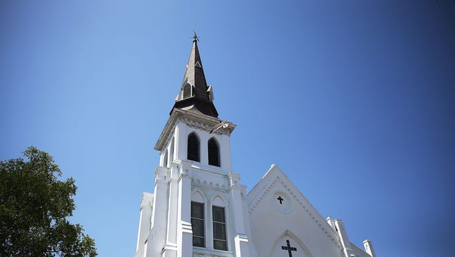 CHARLESTON, SC - JUNE 18: An exterior view of Emanuel AME Church on June 18, 2015 in Charleston, South Carolina. Nine people were killed on June 17 in a mass shooting during a prayer meeting at the church. A 21-year-old suspect, Dylann Roof of Lexington, South Carolina, was arrersted Thursday during a traffic stop. Emanuel AME Church is one of the oldest in the South. (Photo by Joe Raedle/Getty Images) ORG XMIT: 560432887 ORIG FILE ID: 477621092