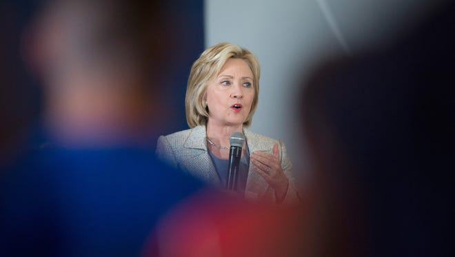 Democratic presidential hopeful Hillary Clinton speaks to guests at a campaign event at Iowa State University in Ames on July 26, 2015.