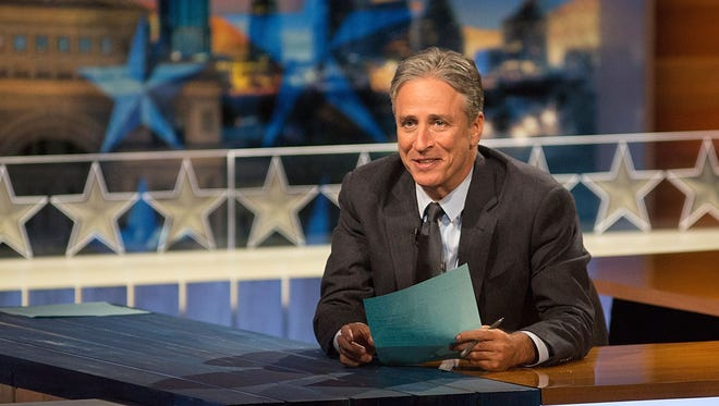 """Jon Stewart at """"The Daily Show with Jon Stewart"""" covers the Midterm elections in Austin with """"Democalypse 2014: South By South Mess"""" at ZACH Theatre on October 28, 2014 in Austin."""