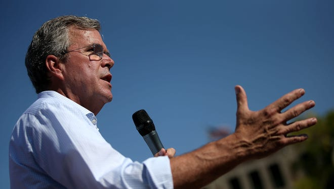 Former Florida Gov. Jeb Bush is seen speaking in Des Moines, Iowa, on Aug. 14. Bush will visit Pensacola on Aug. 26 as part of his campaign for the Republican presidential nomination..