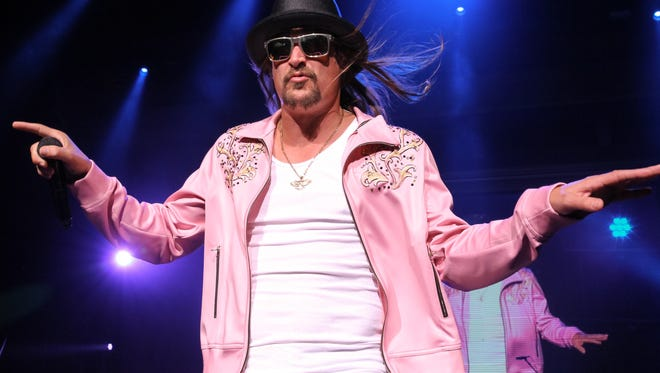 Kid Rock performs during the last of his 10sold-out shows at the DTE Energy Music Theatre on Saturday, Aug. 22, 2015, in Clarkston.