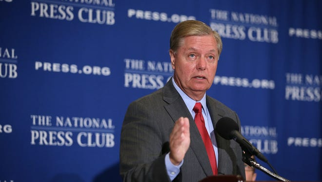 Sen. Lindsey Graham (R-S.C.), a 2016 presidential candidate, speaks at the National Press Club on September 8, 2015 in Washington, DC.