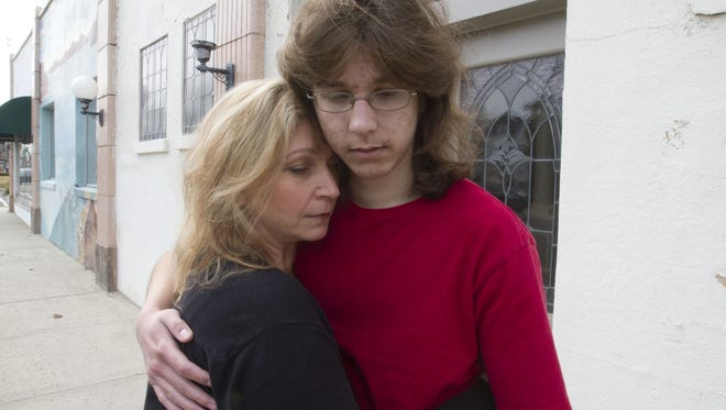 Parker Drake, 19, a special-needs student from Howell, and his mother, Christine Marshall.