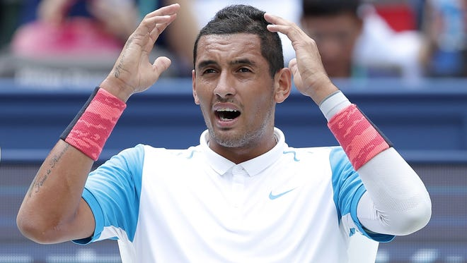 Nick Kyrgios of Australia reacts during against Kei Nishikori of Japan during their second-round match at the Shanghai Masters.