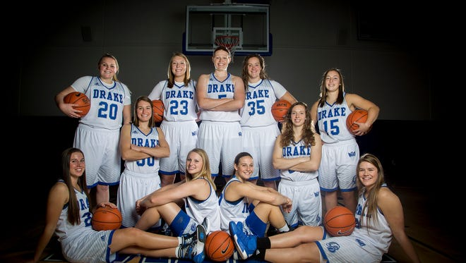 Drake University's women's basketball poses for a team picture during women's basketball media day at The Knapp Center in Des Moines, Iowa, Thursday, Oct. 15, 2015.