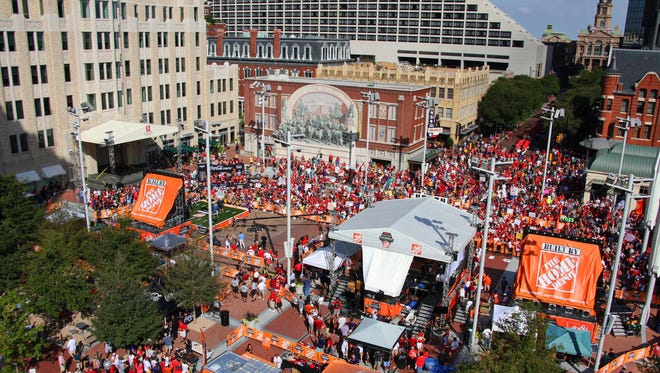 Roof top view of the live broadcast of ESPN College GameDay at Sundance Square in Dallas Fort Worth. College Game Day will visit JMU on Saturday.