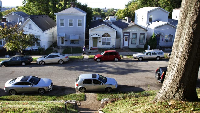 Shotgun and camelback houses line this stretch of the Irish Hill neighborhood as viewed from the Nicholas Finzer House on  Hull Street.