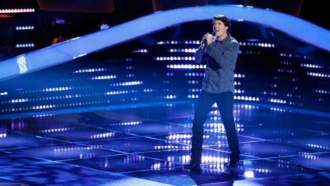 """Singer James Dupré of Bayou Chicot belts out """"Let Her Cry"""" during his blind audition on """"The Voice."""""""