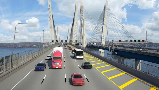 This rendering shows the northern crossing of the new Tappan Zee Bridge.