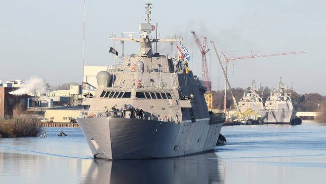 The future USS Milwaukee leaves Fincantieri Marinette Marine Saturday, Nov. 14, for commissioning in Milwaukee on Nov. 21.