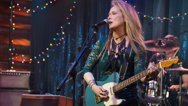 "This photo provided by courtesy of Sony Pictures shows, Meryl Streep, as Ricki, performing at the Flash at the Salt Well in TriStar Pictures' ""Ricki and the Flash."" The movie opens in U.S. theaters on Aug. 7, 2015. (Bob Vergara/Sony Pictures via AP)"