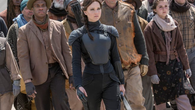 Jennifer Lawrence (center) and 'The Hunger Games: Mockingjay — Part 2' won the box office again.