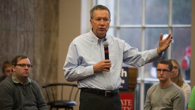 Ohio Gov. John Kasich speaks during a town hall meeting in the Campanile Room of the Memorial Union at Iowa State University in Ames , Monday, Nov. 30, 2015.