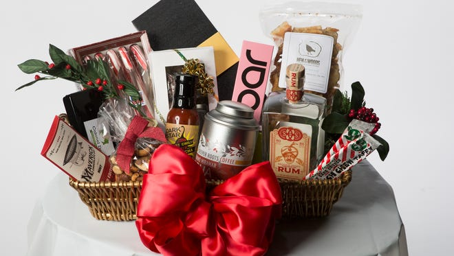 A basket of locally produced holiday food gifts.