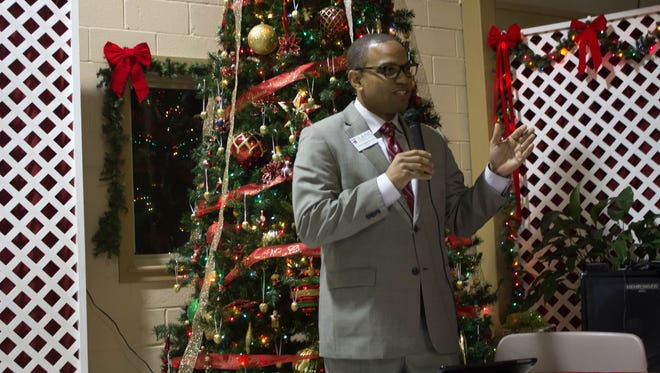 Lane College President Logan Hampton speaks to foster parents at Thursday night's Southwest Regional Foster Parents Gala at the Malesus Community Center.
