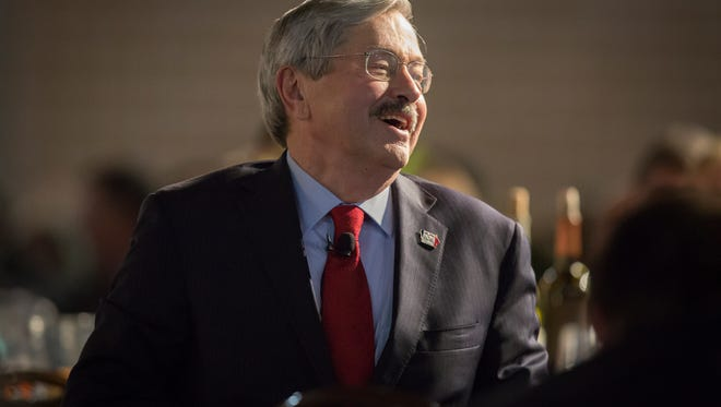 John Dickerson, host of Face the Nation, interviews Gov. Terry Branstad during the celebration of Branstad becoming the longest-serving governor in American history at Iowa State Fairgrounds' Paul R. Knapp Animal Learning Center, Monday, Dec. 14, 2015.