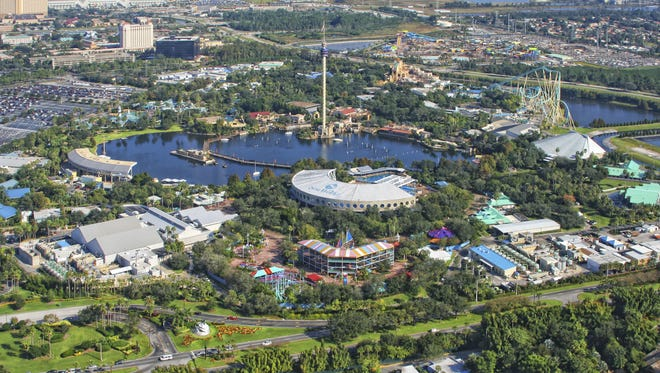 Aerial view of the SeaWorld Orlando - one of seventh-most visited amusement park in the United States - situated on intersection of Interstate 4 and FL 528.
