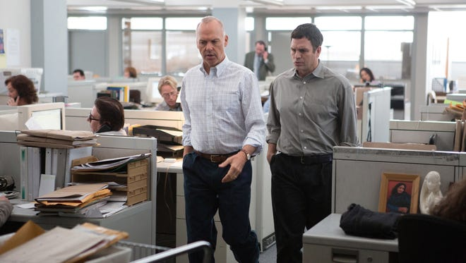 "Michael Keaton (left) and Mark Ruffalo in a scene from the film ""Spotlight."""