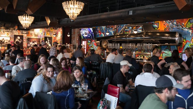 "The Huma Room at HopCat Detroit had 30 different varieties of the Dark Horse Brewing Company's ""Crooked Tree Pale Ale"" on tap during the ""Dark Saturday"" event on Saturday, November 28, 2015."
