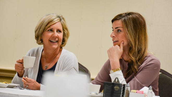 Lafayette City Councilwomen Nanette Cook, left, and Liz Webb Hebert, right, led a compromise that restored $530,000 in funding for the Lafayette Science Museum and the Heymann Performing Arts Center.