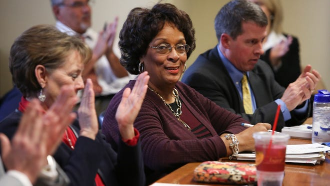 Councilwoman Cheri Bryant Hamilton, center, was applauded by her colleagues after she was elected vice chair of the Democratic caucus for metro council.Jan. 6, 2015