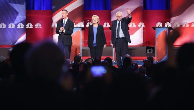 Martin O'Malley, Hillary Clinton and Bernie Sanders participate in the Democratic debate on Jan. 17, 2016, in Charleston, S.C.